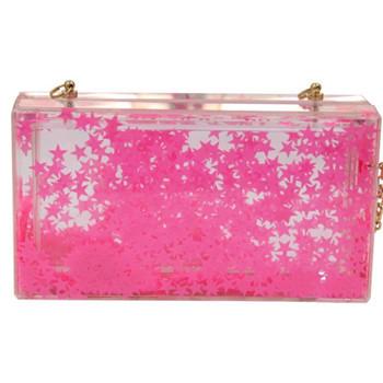 2015 Spring and Summer New Design Pink Star Transparent Acrylic Case Women Clutch Purse Prom Evening Bag aj shanel begs bolsa(China (Mainland))