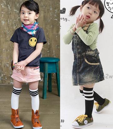 20pcs=10pairs/lot pantyhose kids tights cotton baby girl tights striped 1-10y princess football calze meia knee high socks(China (Mainland))