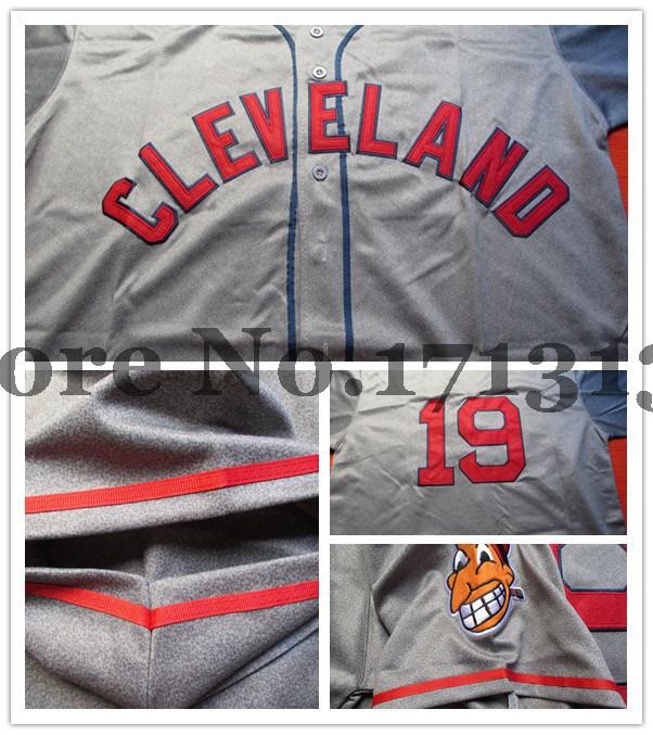 top quality Cleveland Indians 19# Bob Feller Gray retro/M&N Baseball Jersey/shirt(China (Mainland))