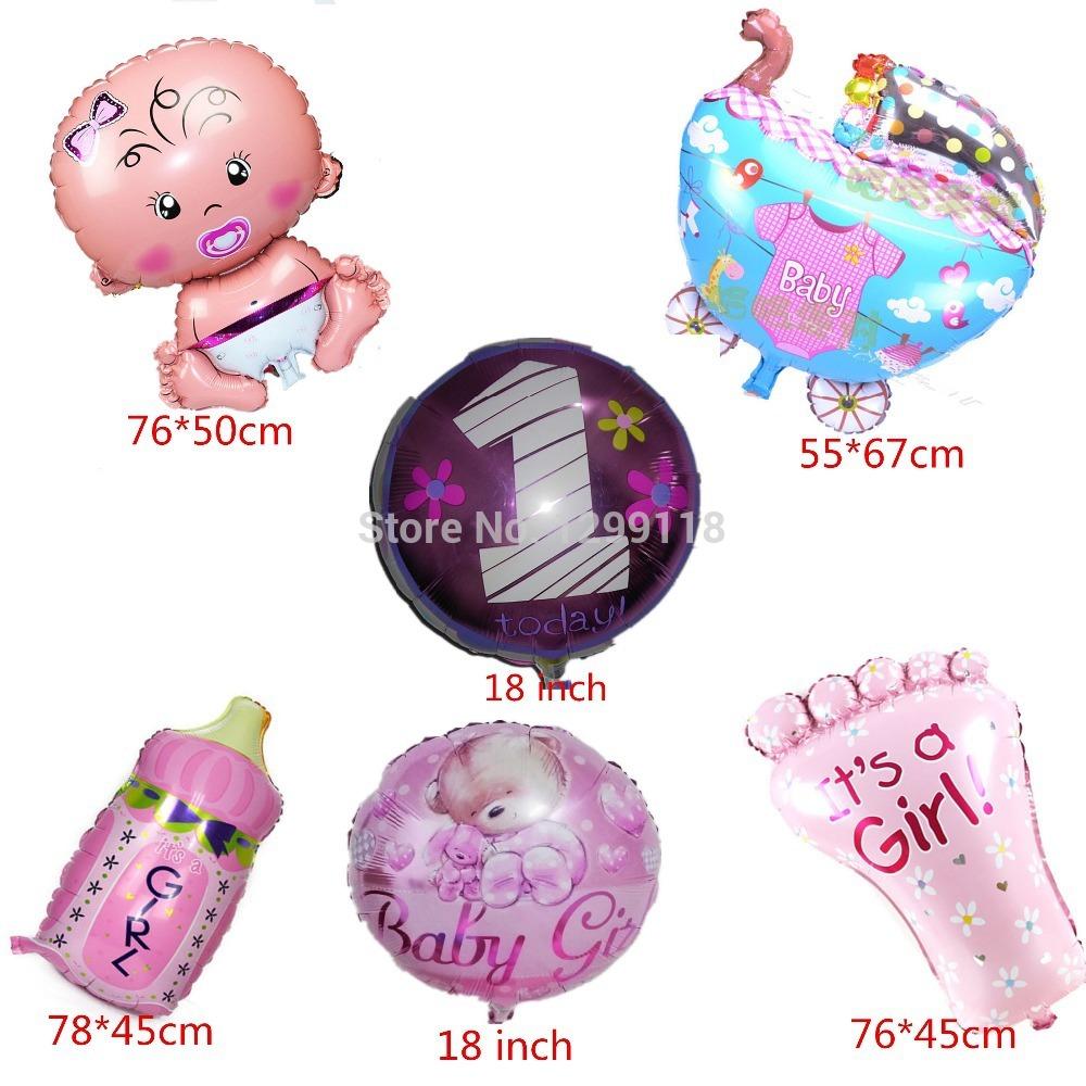 6 Designs Baby Girl Helium Foil Balloons Baby Girl Birthday Party Decorations 1 Year Birthday Happy Birthday Balloon(China (Mainland))