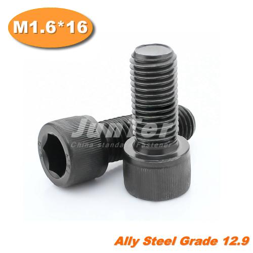 100pcs/lot din912 m1.6 * 16 grade12.9 todos da linha liga aço hex socket c
