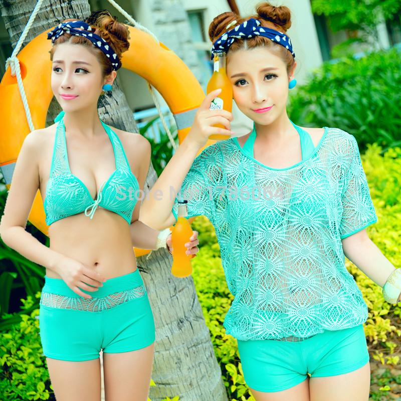 Divisão maiô feminino biquíni aço de três peças prop boxer curto camisa de malha de manga protetor solar(China (Mainland))