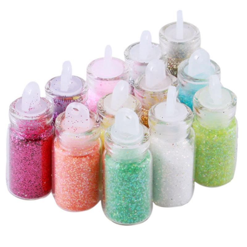 1Set, 12 Color Nail Glitter Powder Decor Nail Art Powder Dust Bottle Set SEGC #5696(China (Mainland))