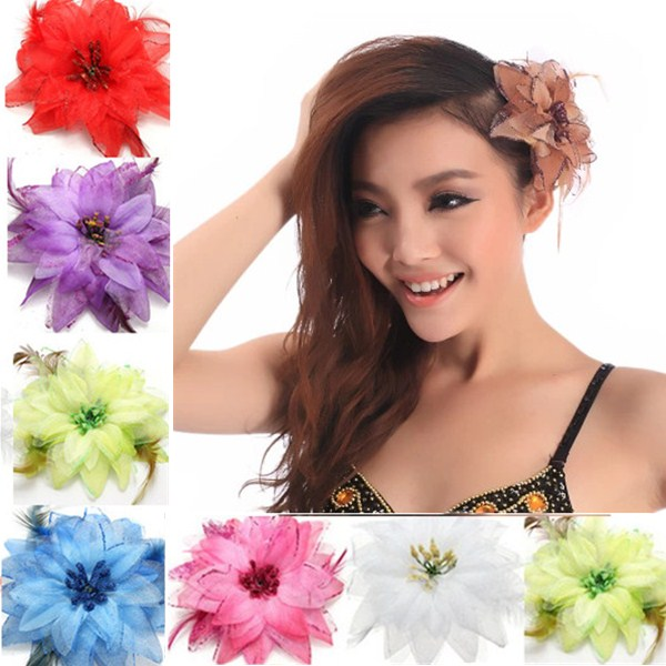 Multicolor Optional Feather Hairpin Headdress Flower Feather Belly Dance Hair Brooch Clip Party Wedding Fascinators Fashion(China (Mainland))