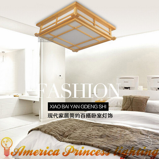 Japanese-style wood LED ceiling lamp Sheepskin cover Tatami bedroom living room study lamps White 45cm 20W AC110-240V(China (Mainland))