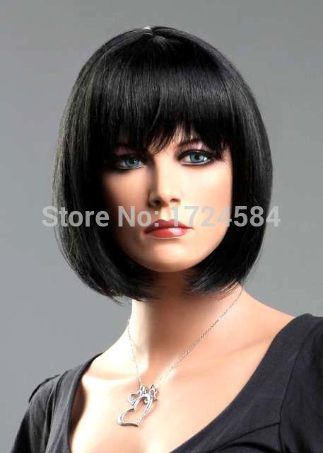 66O##@@00+Ladies Short Wig Black Wig Wedge Fashion Wig(China (Mainland))
