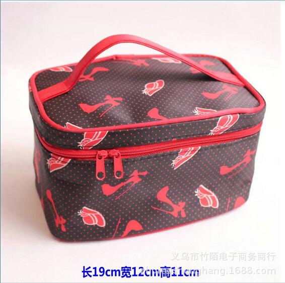2015 free shipping new fashion women cosmetic bag storage bag solid organizer casual travel tote make up(China (Mainland))