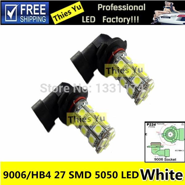 Auto Bulb HB4 9006 P22D LED Car 27 SMD 5050 Fog Light 12V White Fog Lamp Daytime Running Light Replacement(China (Mainland))