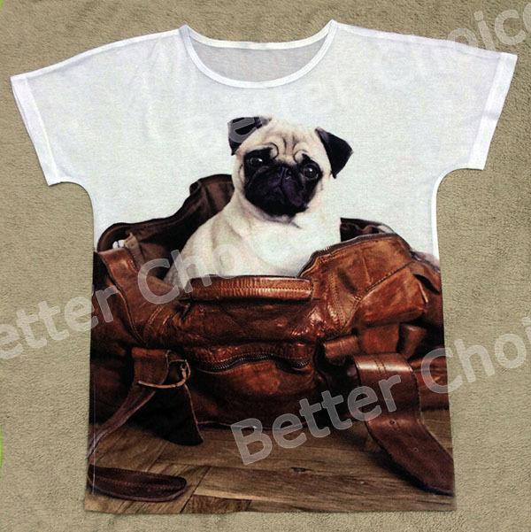 Pista do navio + New Retro Vintage T-shirt Top Tee cortar grandes olhos Pug cão sentado em saco de Pu de presente(Hong Kong)