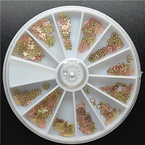 wheel nail art 300pcs 3D metal golden slice diamond heart flower nail art free shipping(China (Mainland))