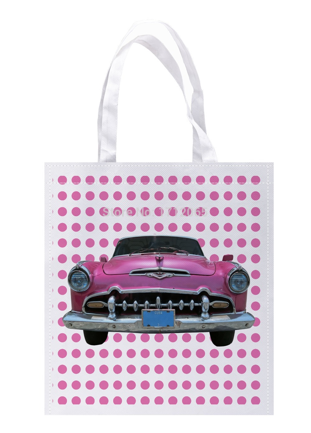 Pink Dot and Vintage old Car Print Custom individual lightweight polyester fabric Reusable grocery bag gift bag pack of 4(China (Mainland))