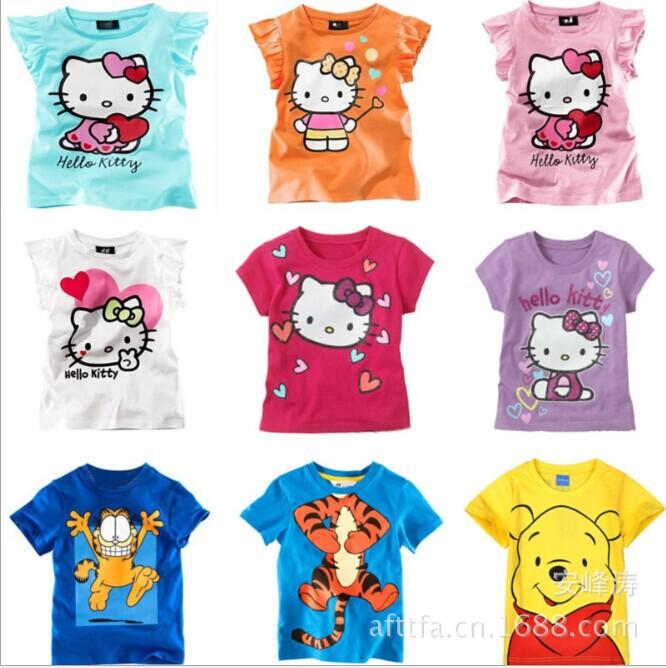 Free Shipping 2015 summer boy's and girl t shirt 100% cotton hello kitty kid's clothing Fashion Short sleeve t-shirt(China (Mainland))