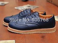 2015 Vintage Navy Blue Men's Leather Flats Business Dress Oxfords Shoes Platform Casual Italy Brand Creeper for Men Mocassin