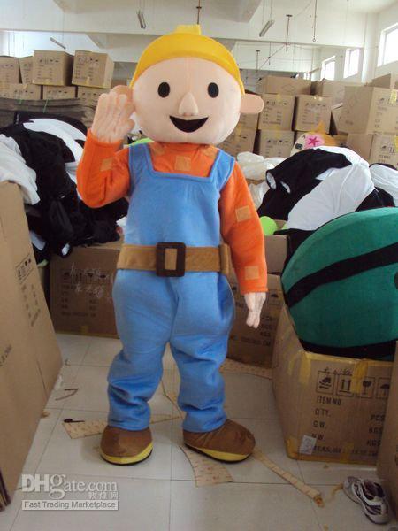 Hot selling 2014 Adult cute Custom Bob the Builder Mascot Costumes Adult Size Character Halloween Costume Cartoon Fancy Dress(China (Mainland))