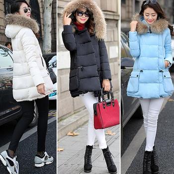 Новый 2015 зимняя куртка пальто сгущать тонкий женский меховой воротник длинные пальто женщин свободного покроя парка пальто Большой размер белый черная роза красный синий