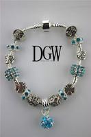 DGW Luxury 925 Daisies Murano Glass&Crystal European Charm Beads Fits Pandora Style Bracelets Adjustable