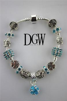 Dgw роскошные 925 ромашки муранского стекла и кристалл европейский шарм бусины подходит ...