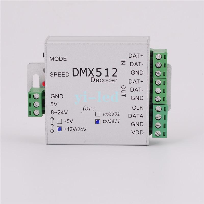 WS2811 12V DMX LED RGB Controller decoder DMX512 WS2811 DC12V LED Flexble Strip SPI Converter Output Max 170 Pixels(China (Mainland))
