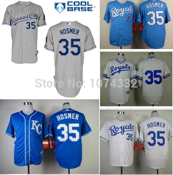 New Cheap Men's White Gray Blue Baseball Jerseys Kansas City Royals 35 Eric Hosmer Jersey Embroidery logos stitched S-3XL(China (Mainland))