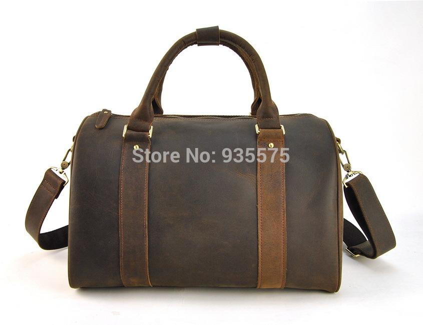 Vintage Genuine Real Leather Luggage Tote Boston Shoulder Bag Cross Body Travel Men Women Handbag Purse Retro Duffel Weekend Gym(China (Mainland))