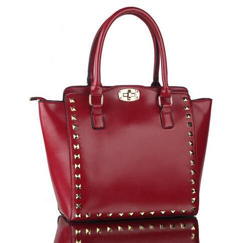 Top Quality Woman Messenger Bags Office Ladies Vintage Rivet Handbag Large Capacity Totes Brand Leather Shoulder Bag(China (Mainland))
