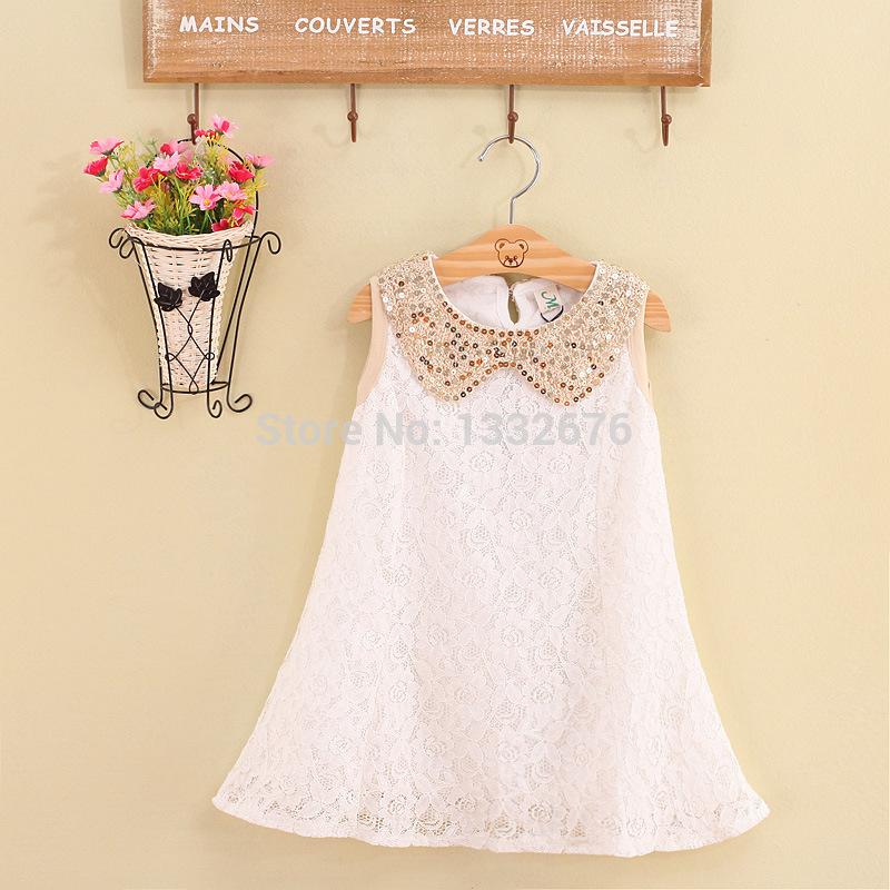Vestidos Casual Free Shipping Brand Boutique Summer Lace Girls Dress Sleeveless Cheap Girls Princess Dress 2015 5pcs/lot LDD(China (Mainland))
