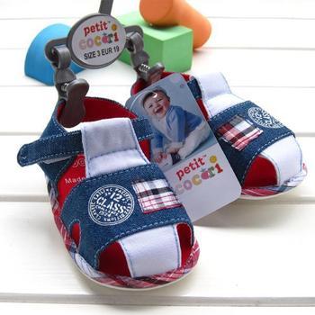 2015 новый летний детская обувь высокое качество корова мальчик джинсовые синие младенца ...