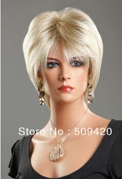 free shipping Ladies Short Wig Blonde Black Brown Wig Bob straight Boycut Wedge Style Wigs(China (Mainland))