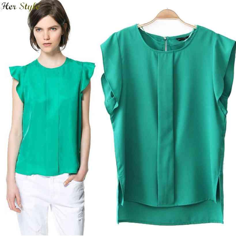 Free Shipping womens summer 2015 new wind butterflies cascading sleeves chiffon shirt sleeveless vestshirt 1426123097(China (Mainland))
