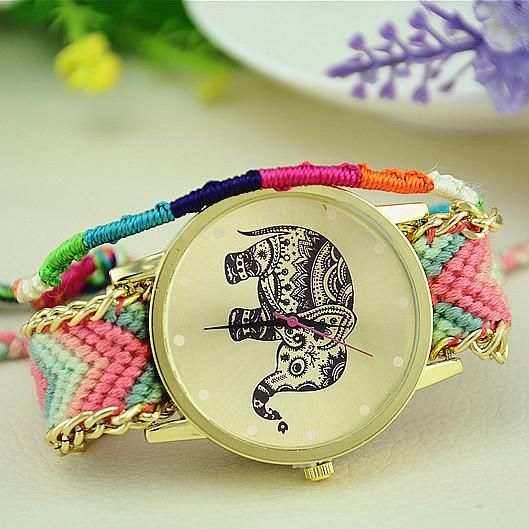 HOT Sell New Brand Handmade Braided Elephant Friendship Bracelet Watch GENEVA Watches Women Quarzt Watches relogio feminino(China (Mainland))
