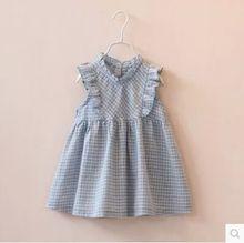2015 new spring summer baby girls plaid butterfly sleeve boutique princess dresses girl sleeveless dress 2