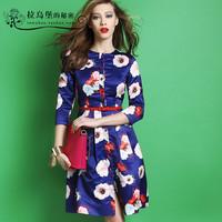 2015 spring new arrival fashion flower print three quarter sleeve one-piece dress