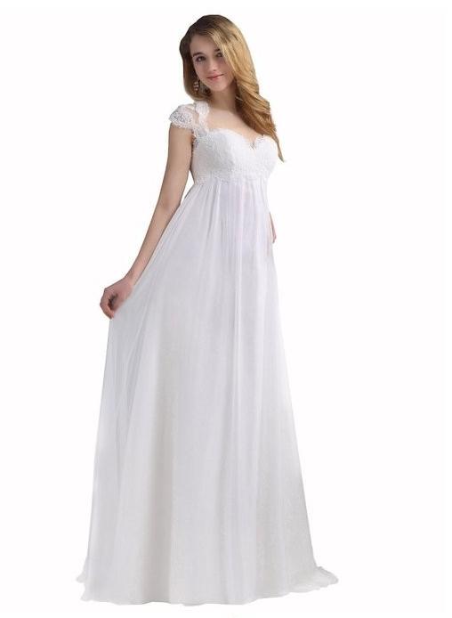 2014 New Empire Cap Sleeve Sweetheart Lace Chiffon Maternity Wedding Dresses Bridal Gowns Size 4 6 8 10 12 14 16 18 20 ++ W504(China (Mainland))