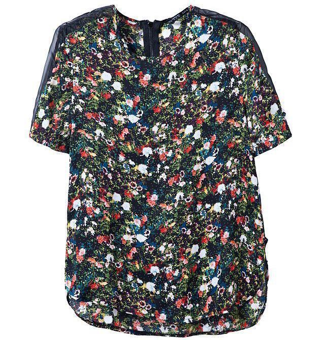 New 2015 Fashion Lady Shirt Women Tops Mesh Hollow Out Short Sleeve Patchwork Flower Print Chiffon Blouses Brand Shirts CS125(China (Mainland))