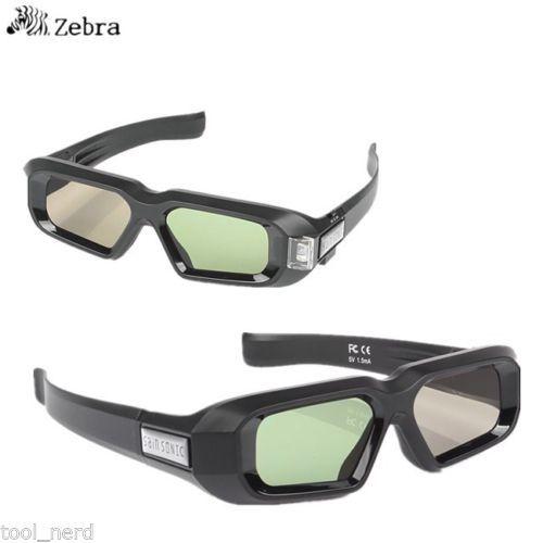 2 PCS!! SainSonic Zebra 144Hz 3D DLP Glasses for BenQ Vivitek Optoma Projector Black 10M active 3d glasses virtual reality(China (Mainland))