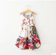 National Wind 2015 new spring summer girls flower embroidered sleeveless boutique dresses kids Bohemian designer dress