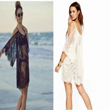 2015 Sexy Vintage Hippie de Boho People bordado Floral encaje vestido de ganchillo blanco / negro entrega gratuita y ventas al por mayor(China (Mainland))