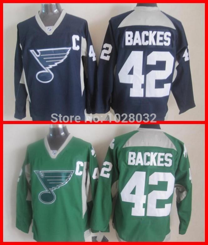Wholesale Practice Jersey #42 David Backes St. Louis Blues Men's Hockey Jersey St. Patrick's Day Green Blue,Stitched,S~3XL(China (Mainland))