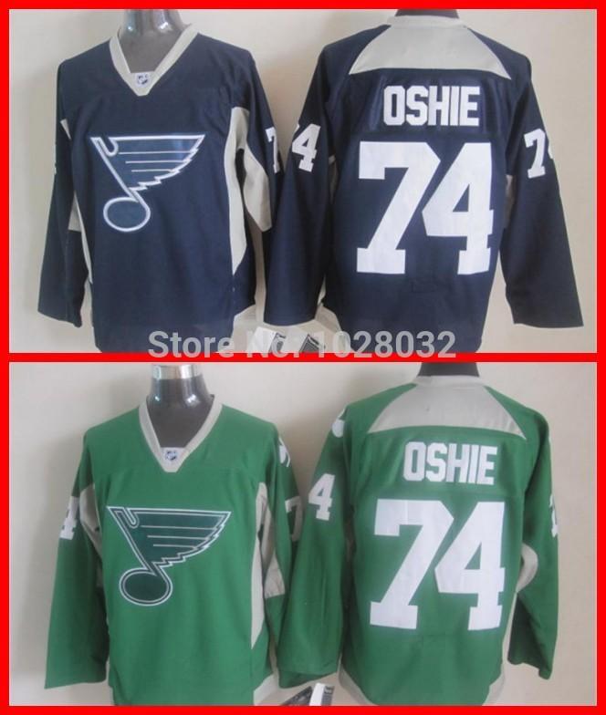 Practice Jersey #74 TJ Oshie St. Louis Blues Men's Hockey Jersey St. Patrick's Day Green Blue,Stitched,M~3XL,Cheap Wholesale(China (Mainland))