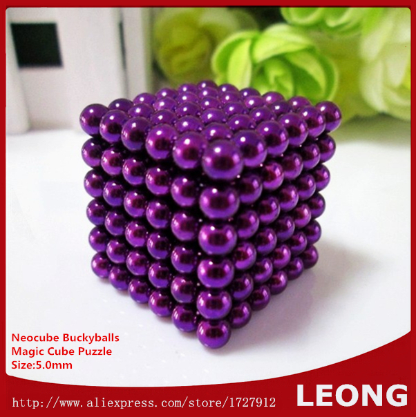 Wholesale Price Neocube Buckyballs Magic Cube Puzzle 5mm 216pcs Purple Color Cubo magico Kids Toy Magnet Magnetic Balls with box(China (Mainland))