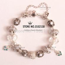 2015 European Charm glass bead charm beaded fit Pandora style White bracelets Factory wholesale beads