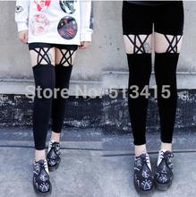 Free shipping punk rocker velvet flannel knee cutout pants legging Retro Rockabilly
