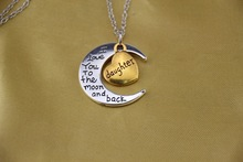 Mom I Love You To The Moon and Back Pendant Necklace with Two Toned Yellow Gold
