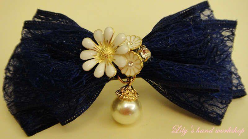 Lily manual 2015 new bow three spring clip imitation pearl edge clip hairpin head ornaments popular hair L1005(China (Mainland))