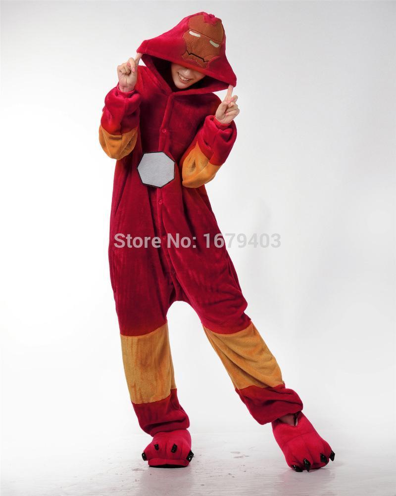 Superhero Iron Man Anime Cosplay Movie Costume Men Women Adult Onesie Pajamas Soft Fleece Pyjamas Jumpsuit Romper Sleepwear(China (Mainland))