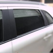 Free shipping Car column carbon fiber stickers 6pcs for MITSUBISHI ASX Accessories MITSUBISHI ASX Accessories