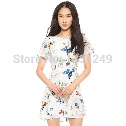 Free shipping women clothing natural beauty butterfly printed silk gently beautiful feeling back seam dress(China (Mainland))