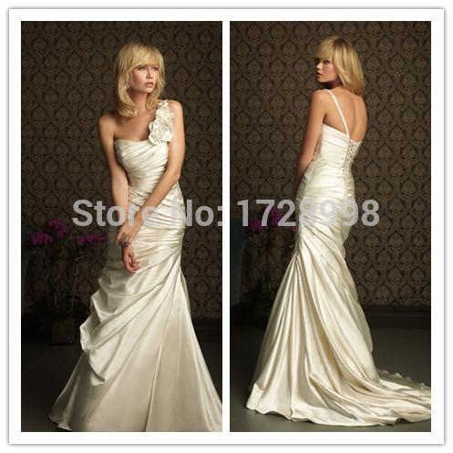 Pleat Flowers One Strap Wedding Dress Simple Design Satin Vestidos De Novia Full Length Sleeveless Lace Up Back A Line Clothing(China (Mainland))