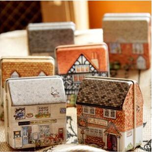 12pcs/lot Free shipping mini europe style small house tin box relief stereo small tin kit storage box(China (Mainland))