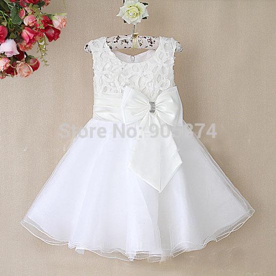 2015 white baby girl wedding party dresses girl gorgeous princess